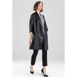 Natori Faux Leather Kimono Coat, Women's, Black, Size M Natori