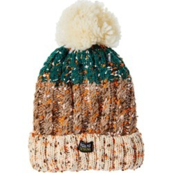 Polar Extreme Women�s Beanie with Faux Fur Thermal Lining - Fleck Yarn - Brown/Green