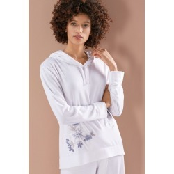 Natori Zen Embroidered Hoodie Coat, Women's, White, Size S Natori
