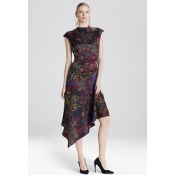 Vintage Floral Dress, Women's, Black, Silk, Size 10, Josie Natori