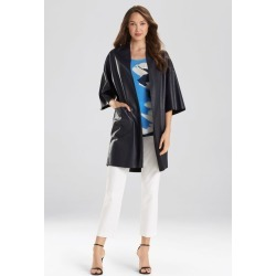 Natori Faux Leather Kimono Coat, Women's, Blue, Size L Natori