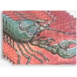 Placemat Set - Rare Blue Lobster in Brown/Red by VIDA Original Artist