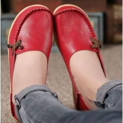 Costbuys  Genuine Leather breathable Women Shoes Fashion Lace up Casual Flat Shoes Peas Non-Slip Outdoor Shoes Plus - Red / 6 found on Bargain Bro India from cost buys for $78.99