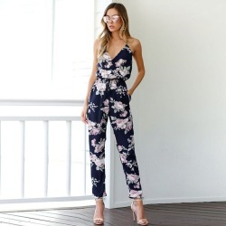 Costbuys  Women Bohemian Backless Jumpsuit Sleeveless V-Neck Floral Printed Playsuit Loose Floral Summer Mono - FloralWoman Jump found on Bargain Bro India from cost buys for $94.99