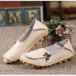 Costbuys  Genuine Leather breathable Women Shoes Fashion Lace up Casual Flat Shoes Peas Non-Slip Outdoor Shoes Plus - Beige / 11 found on Bargain Bro India from cost buys for $78.99