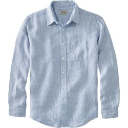 Men's L.L.Bean Linen Shirt, Slightly Fitted Long-Sleeve Stripe Blue S found on Bargain Bro India from L.L. Bean for $49.95