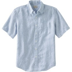 Men's L.L.Bean Linen Shirt, Slightly Fitted Short-Sleeve Stripe Blue M found on Bargain Bro India from L.L. Bean for $44.95