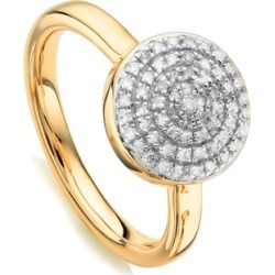 Gold Fiji Large Button Stacking Ring Diamond found on Bargain Bro UK from Monica Vinader