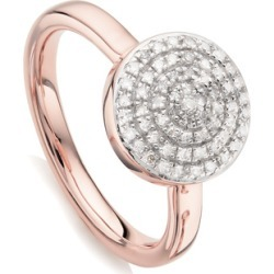 Rose Gold Fiji Large Button Stacking Ring Diamond found on Bargain Bro India from Monica Vinader (US) for $375.00