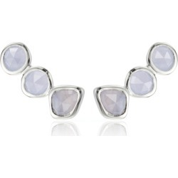 Sterling Silver Siren Climber Earrings Blue Lace Agate found on Bargain Bro UK from Monica Vinader
