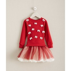 Girls Scattered Bows Dress Red, 14 Chasing Fireflies