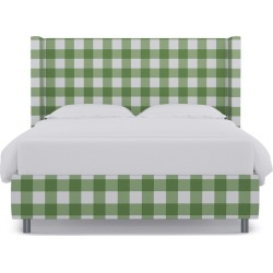 Modern Wingback Bed | Queen | Mint Check