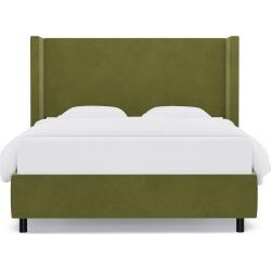 Modern Wingback Bed | Queen | Moss Velvet