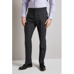 Hardy Amies Tailored Fit Grey Windowpane Trouser found on MODAPINS from Moss Bros Retail for USD $38.53