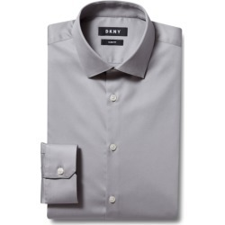 DKNY Slim Fit Grey Single Cuff Stretch Shirt found on Bargain Bro UK from Moss Bros Retail
