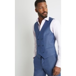 Ted Baker Tailored Fit Faded Blue Twill Double Breasted Waistcoat found on Bargain Bro UK from Moss Bros Retail