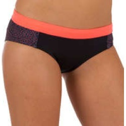 Decathlon Olaian Women's Vali Surfing Bikini Bottoms With Drawstring - Coral/Black found on Bargain Bro UK from Decathlon