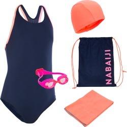 Girls' Swimming Set 100 Start: Swimming Trunks, Goggles, Cap, Towel, Bag found on Bargain Bro UK from Decathlon