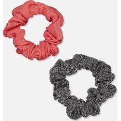 Cotton On Foundation - Foundation Factorie Mini Scrunchie 2 Pk - Black lurex & shell pink
