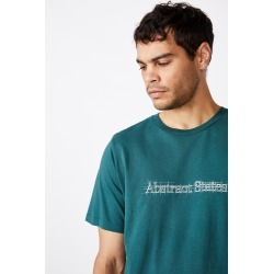 Cotton On Men - Tbar Text T-Shirt - Deep sea teal/abstract states sketch
