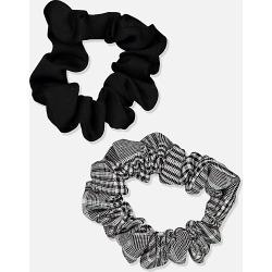 Cotton On Foundation - Foundation Factorie Mini Scrunchie 2 Pk - Black check
