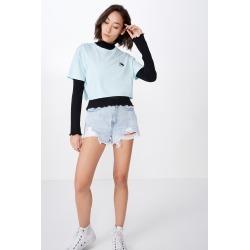 Factorie - Short Sleeve Raw Edge Crop T Shirt - Blue glow/yin yang