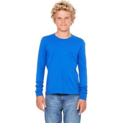 Bella + Canvas 3501Y Youth Jersey Long-Sleeve T-Shirt in True Royal Blue size Small | Cotton found on Bargain Bro Philippines from ShirtSpace for $7.87