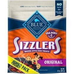 Blue Buffalo Sizzlers with Real Pork Bacon-Style Dog Treats, 32-oz bag found on Bargain Bro India from Chewy.com for $13.79