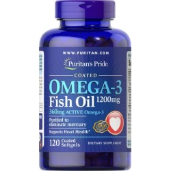 Puritan's Pride Omega-3 Fish Oil Coated 1200 mg (360 mg Active Omega-3)-120 Coated Softgels found on Bargain Bro India from Puritan's Pride for $12.49