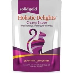 Solid Gold Holistic Delights Creamy Bisque with Turkey & Coconut Milk Grain-Free Cat Food Pouches, 3-oz, case of 12