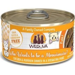 Weruva Classic Cat Who Want To Be A Meowinaire Chicken & Pumpkin Pate Canned Cat Food, 3-oz can, case of 12