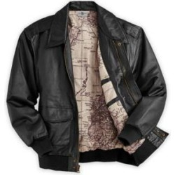 Men's Aviator Leather Jacket, Black L Tall found on Bargain Bro from Blair.com for USD $129.19
