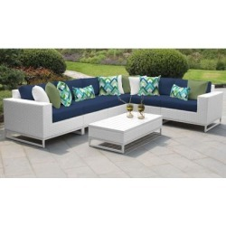 Miami 7 Piece Outdoor Wicker Patio Furniture Set 07g in Navy - TK Classics Miami-07G-Navy found on Bargain Bro India from totally furniture for $1549.99