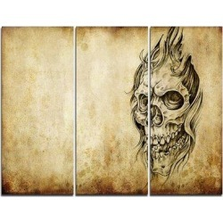 DesignArt Death Tattoo Art - 3 Piece Graphic Art on Wrapped Canvas Set PT7808-3P