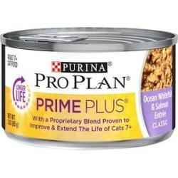 Purina Pro Plan Prime Plus Adult 7+ Ocean Whitefish & Salmon Entree Classic Canned Cat Food, 3-oz, case of 24 found on Bargain Bro India from Chewy.com for $23.28