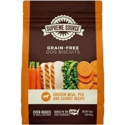 Supreme Source Chicken Meal, Pea & Carrot Biscuits Grain-Free Dog Treats, 16-oz bag found on Bargain Bro India from Chewy.com for $5.39