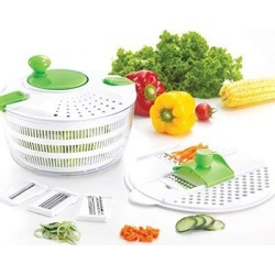 Huji Multifunctional Salad Spinner and Mandoline Set, Salad Tosser and Drainer, Vegetable Dryer with 6 Blades and Pouring Spout (1)