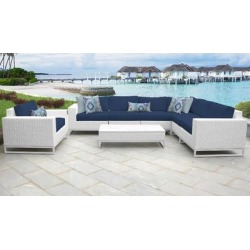 Miami 8 Piece Outdoor Wicker Patio Furniture Set 08b in Navy - TK Classics Miami-08B-Navy found on Bargain Bro India from totally furniture for $1831.99