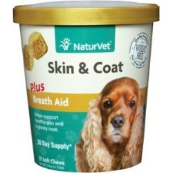 NaturVet Skin & Coat Dog Soft Chews, 70 count