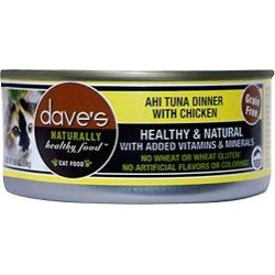 Dave's Pet Food Naturally Healthy Grain-Free Ahi Tuna Dinner w/ Chicken Canned Cat Food, 5.5oz, 24ct found on Bargain Bro India from Chewy.com for $28.89
