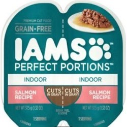 Iams Perfect Portions Indoor Salmon Recipe Grain-Free Cuts in Gravy Wet Cat Food Trays,2.6-oz, case of 24 twin packs