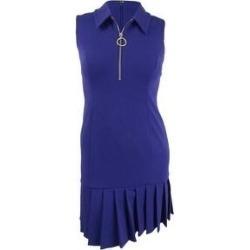 DKNY Women's Sleeveless Pleat Flounce Skirt Dress (12, Blueberry) (Blueberry)(polyester) found on Bargain Bro from Overstock for USD $49.39