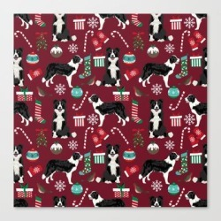 Canvas Print | Border Collie Christmas Stockings Presents Holiday Candy Canes Dog Breed Pattern by Petfriendly - LARGE - Society6 found on Bargain Bro from Society6 for USD $101.60
