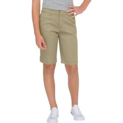 Dickies Women's Juniors' Schoolwear Classic Fit Bermuda Stretch Twill Shorts - Desert Khaki Size 0 (KR7714) found on Bargain Bro from Dickies.com for USD $14.43