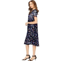 Plus Size Women's Ultrasmooth Fabric V-Neck Swing Dress by Roaman's in Multi Playful Abstract (Size 42/44) found on Bargain Bro Philippines from fullbeauty for $54.99