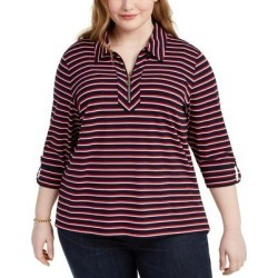 Tommy Hilfiger Women's Knit Top Blue Size 2X Plus Striped Zip-Neck found on Bargain Bro from Overstock for USD $23.54