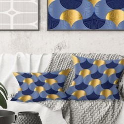 Designart 'Retro Luxury Waves in Gold and Blue VIII' Mid-Century Modern Throw Pillow found on Bargain Bro from Overstock for USD $26.97