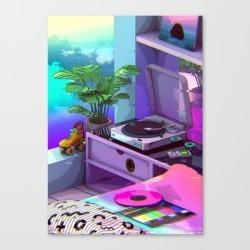 Vaporwave Aesthetic Canvas Print by Dennybusyet - LARGE