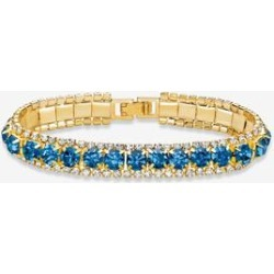 Women's Gold Tone Tennis Bracelet (10mm), Round Birthstones and Crystal, 7