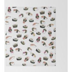 Bed Throw Blanket | Sushi On White by Jordyn St. John - 51